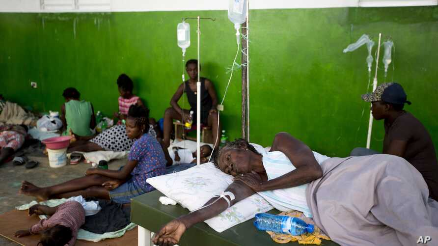 Victims of cholera receive treatment at a cholera center in Anse D'Hainault, Haiti,Oct. 11, 2016.