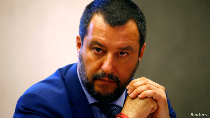 FILE - Italy's Interior Minister Matteo Salvini looks on during a news conference in Rome, June 20, 2018.