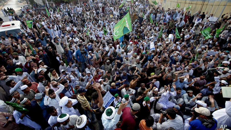 Supporters of Pakistani religious parties rally to condemn a recent series of deadly suicide bombings, in Karachi, Pakistan, Feb. 19, 2017. Pakistani police said Sunday that counter-terrorism forces are still conducting operations aimed at cracking d...