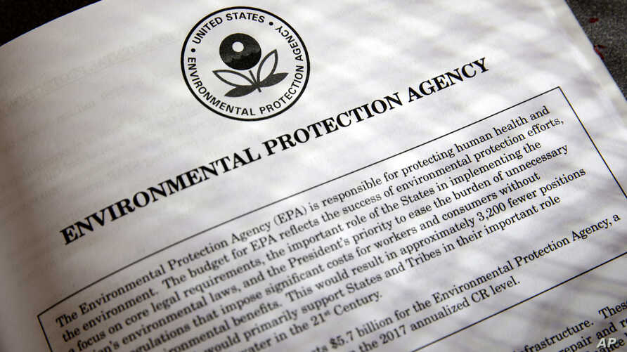 FILE - Proposals for the Environmental Protection Agency (EPA) in President Donald Trump's first budget are displayed at the Government Printing Office in Washington, March 16, 2017.