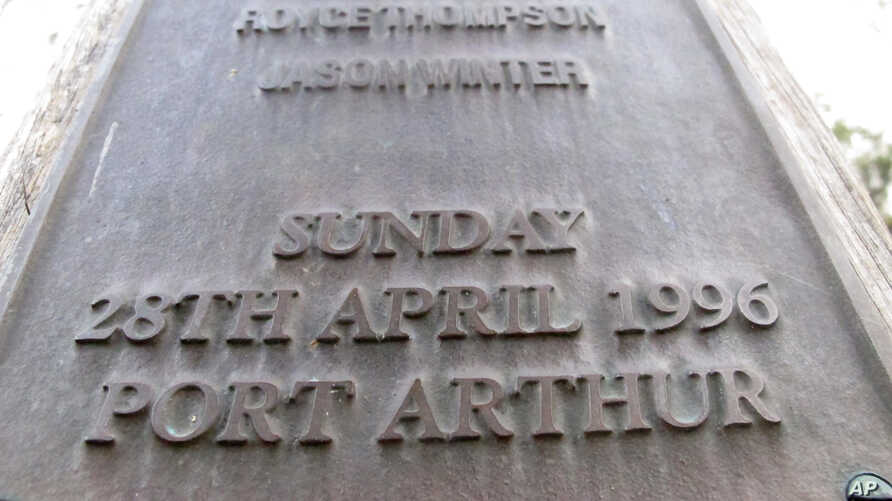 """FILE - The date and place """"Sunday, 28th April 1996 Port Arthur"""" are engraved on a memorial in Port Arthur, Tasmania state, Australia, to honor the 35 people killed by a lone gunman."""
