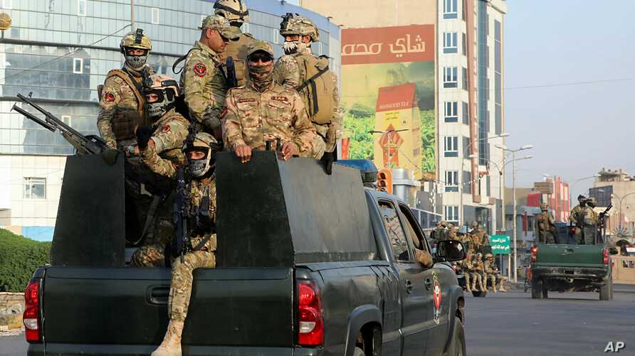 Security forces patrol in Basra, Iraq, 340 miles (550 kilometers) southeast of Baghdad, Sept. 8, 2018.