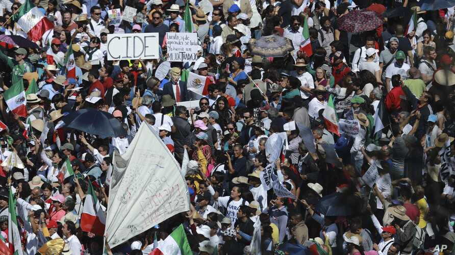 Demonstrators march demanding respect for Mexico and its migrants, in the face of perceived hostility from the administration of U.S. President Donald Trump, in Mexico City, Sunday, Feb 12, 2017.