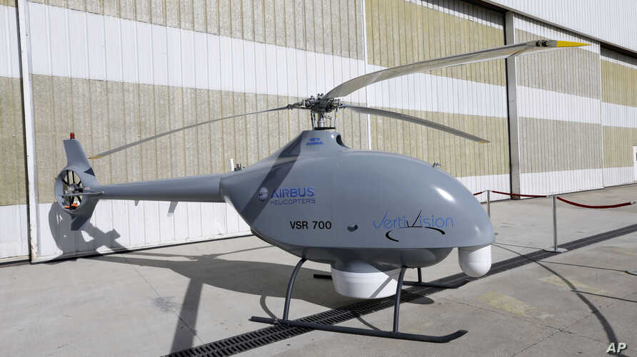 A prototype of France's naval aerial drone, VSR 700, is displayed at Airbus Heliciopters factory in Marignane, France, March 3, 2017.