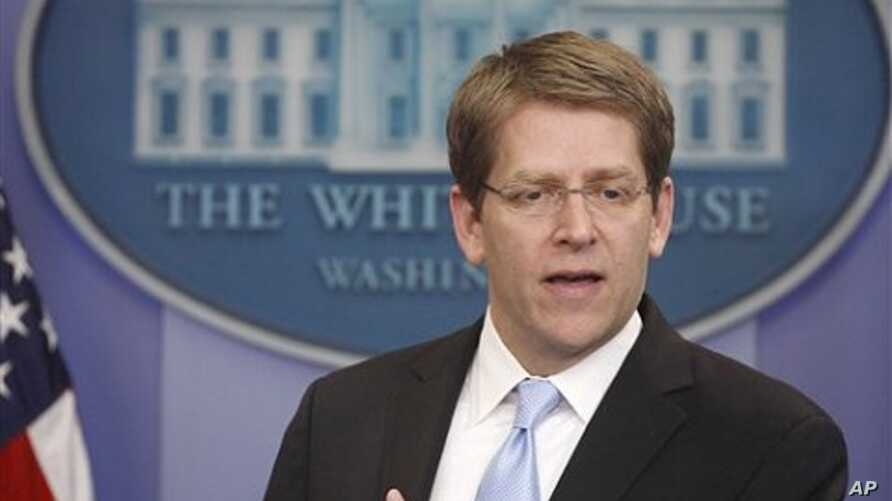 White House Press Secretary Jay Carney briefs reporters at the White House in Washington (File Photo - April 14, 2011)