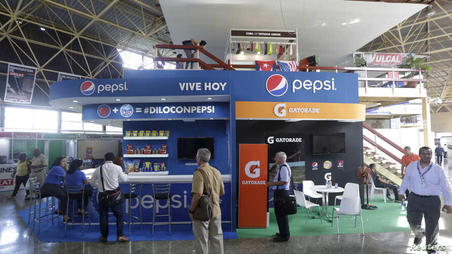 At the annual Havana International Fair, Cuba's first trade fair since rapprochement with the United States, the U.S. pavilion includes an exhibit for Pepsi Cola, Nov. 2, 2015. The island nation is eager for more foreign investment.