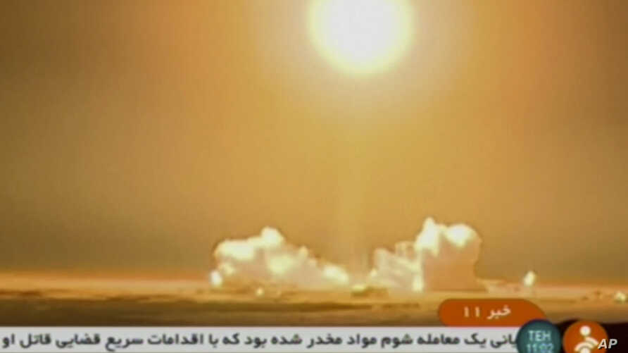 Video image from Iranian state TV shows the launch of a rocket carrying a Payam satellite at Imam Khomeini Space Center, a facility under the control of the country's Defense Ministry, in Semnan province, Iran, Jan. 15, 2019.