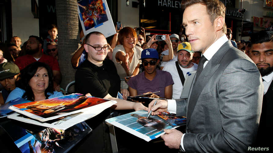 "Actor Chris Pratt signs autographs at the world premiere of Marvel Studios' ""Guardians of the Galaxy Vol. 2."" in Hollywood, April 19, 2017."