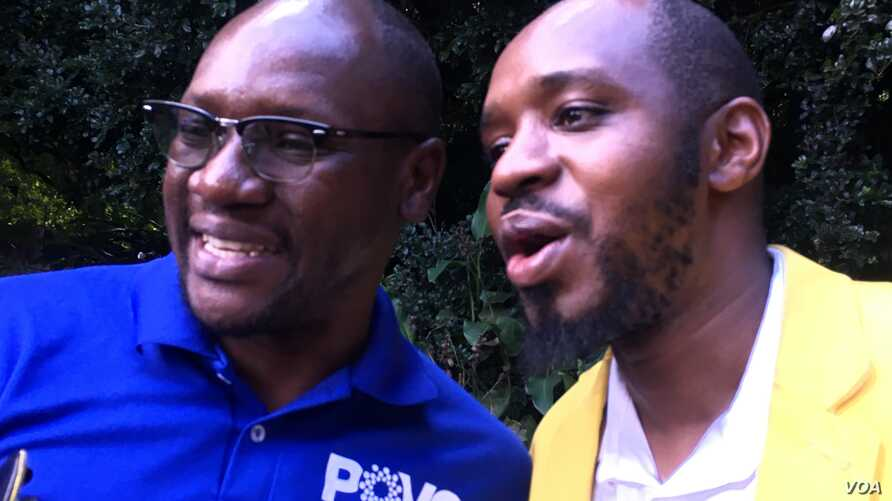 Zimbabwe cleric and rights activist Pastor Evan Mawarire at the launch of his coalition of independent council election candidates to contest in 2018's elections. in Harare, March 29, 2018. (S. Mhofu for VOA)