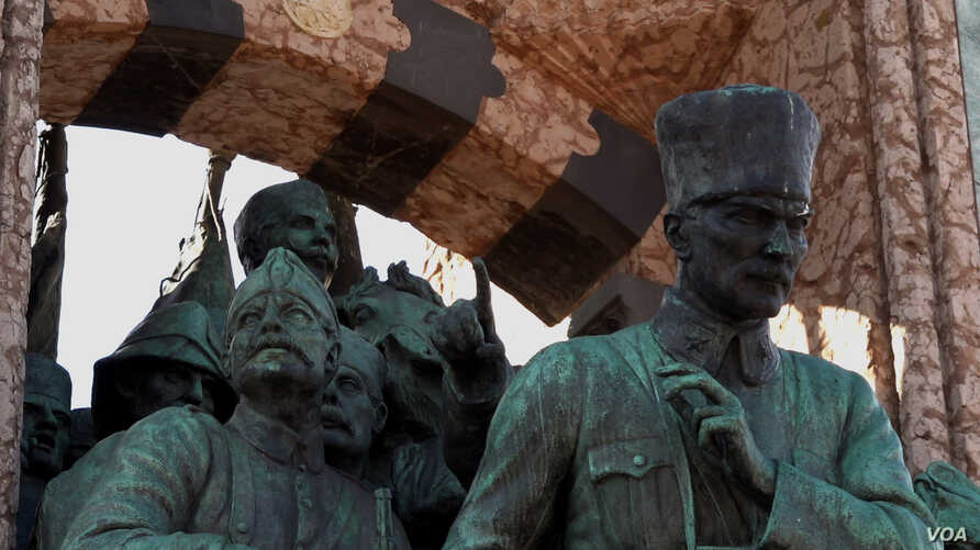 Statues of Mustafa Kemal Ataturk founder of the Turkish Republic commemorating his defeating of allied powers after World War I that ensured Turkey's survival are found across the country rather than World War One commemorations. (D. Jones for VOA)