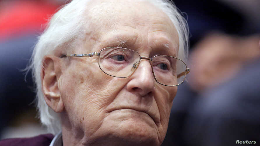 FILE - Oskar Groening, defendant and former Nazi SS officer dubbed the 'bookkeeper of Auschwitz', is pictured in the courtroom during his trial in Lueneburg, Germany, July 15, 2015.
