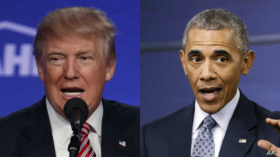 From left, Republican presidential candidate Donald Trump and President Barack Obama. Twice this week, Trump accused the president of founding the militant group Islamic State.