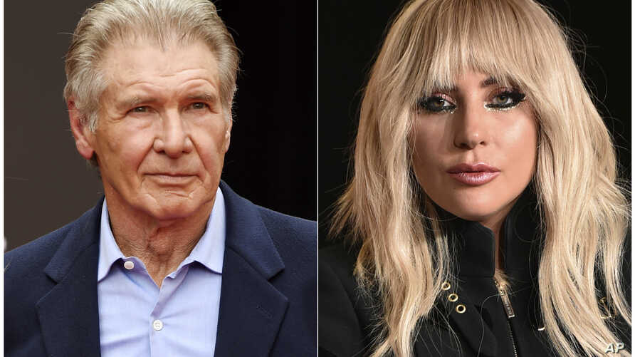 FILE - This combination photo shows Harrison Ford at an event in Los Angeles on May 17, 2017, left, and Lady Gaga at a press conference in Toronto on Sept. 8, 2017.