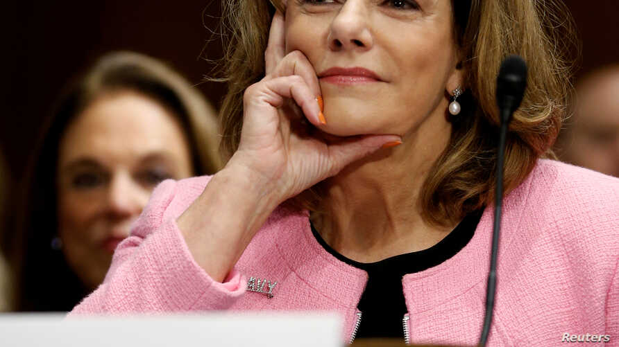 FILE - President Donald Trump's nominee for ambassador to Singapore, K.T. McFarland, testifies at the Senate Foreign Relations Committee hearing on her nomination, on Capitol Hill in Washington, July 20, 2017.