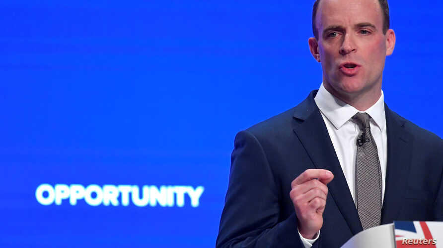 Britain's Secretary of State for Exiting the European Union Dominic Raab delivers his keynote address to the Conservative Party Conference in Birmingham, Britain, Oct. 1, 2018.