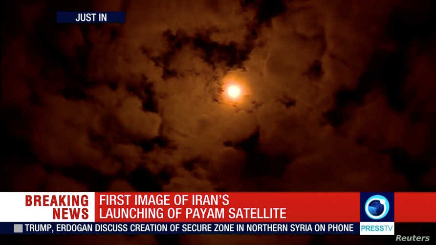 The Payam satellite is seen in the sky after it was launched in Iran, Jan. 15, 2019, in this still image taken from video. The satellite failed to attain orbit.