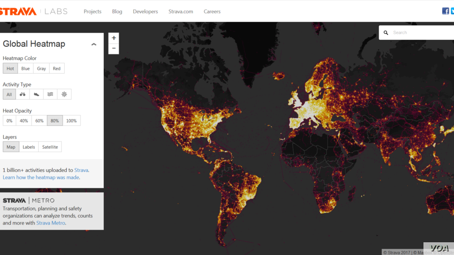 A heat map generated from data collected by wearable fitness trackers from users around the world. (Strava)