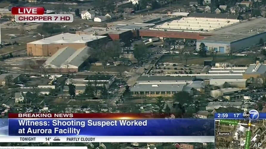This image from video provided by ABC 7 Chicago shows the industrial park in Aurora, Ill., where officials say a gunman opened fire at the Henry Pratt Co. building, Feb. 15, 2019.