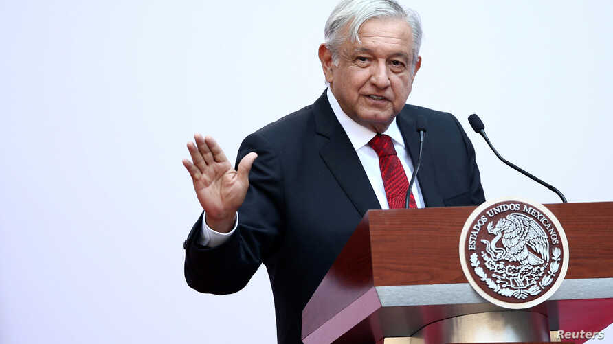 Mexico's President Andres Manuel Lopez Obrador gives a speech marking the first 100 days of his presidency at the National Palace in Mexico City, Mexico, March 11, 2019.