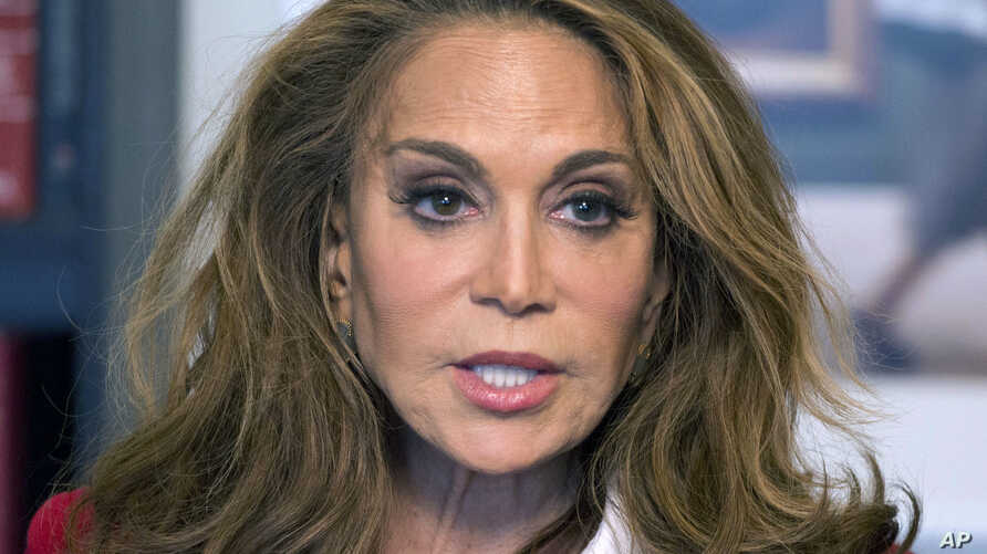 FILE - Conservative blogger Pamela Geller speaks during an interview at Associated Press offices in New York, May 7, 2015. David Wright was convicted in October 2017 of plotting to behead Geller and kill other Americans on behalf of the Islamic State