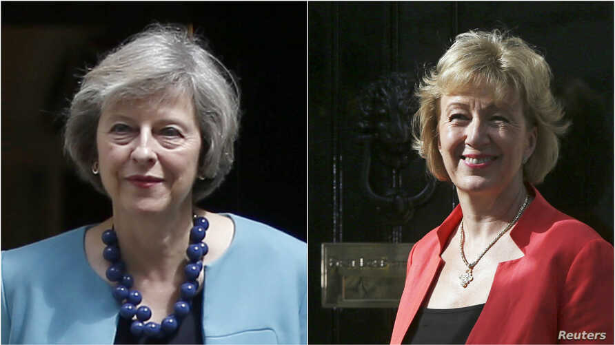 From left, Britain's Interior Minister Theresa May and Energy Minister Andrea Leadsom.