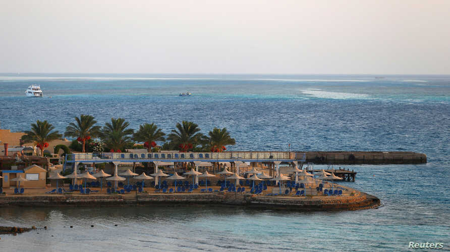 FILE - One of the beaches of the city of Hurghada, Egypt, July 15, 2017. Thomas Cook said Thursday it is evacuating its customers from a hotel in Hurghada after two guests died.