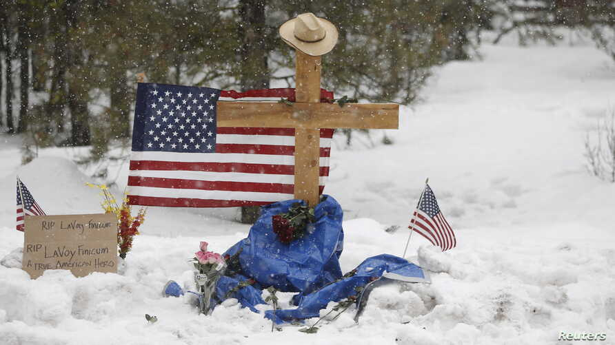 "A memorial for Robert ""LaVoy"" Finicum is seen where he was shot and killed by law enforcement on a highway north of Burns, Ore., January 30, 2016."
