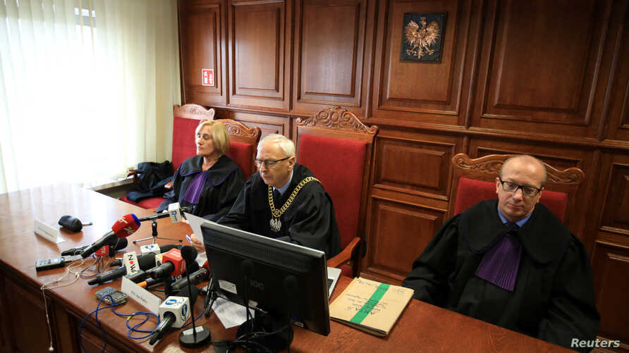 Judges of court of appeal upheld a landmark ruling granting a million zloty ($268,000) in compensation to a victim of sexual abuse by a Catholic priest in Poznan, Poland, Oct. 2, 2018.