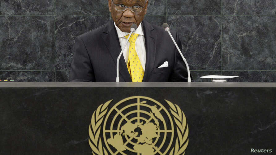 FILE - Thomas Motsoahae Thabane, Prime Minister of Lesotho, addresses the 68th United Nations General Assembly at U.N. headquarters in New York, Sept. 26, 2013.