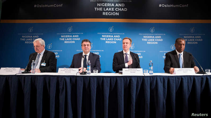 FILE - (L-R) UN Emergency Relief Coordinator Stephen O'Brien, Germany's Minister of Foreign Affairs Sigmar Gabriel, Norway's Minister of Foreign Affairs Borge Brende, and Nigeria's Minister of Foreign Affairs Geoffrey Onyeama attend a press conferenc