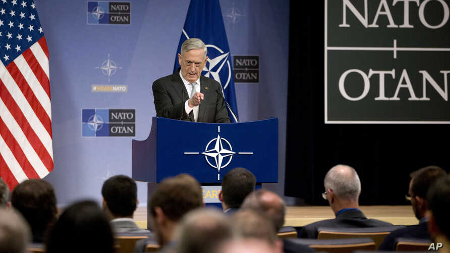 U.S. Defense Secretary Jim Mattis speaks during a press conference after a meeting of NATO defense ministers at the alliance's headquarters in Brussels, Belgium, Nov. 9, 2017.