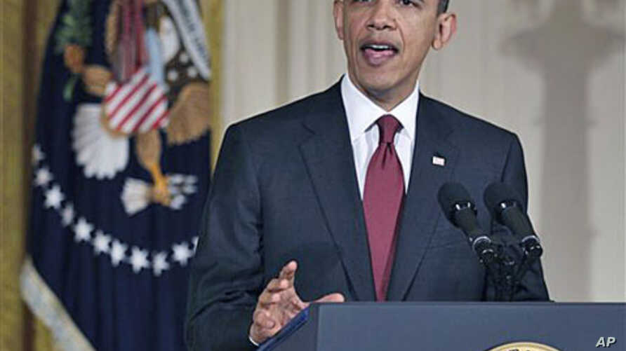 President Barack Obama makes a statement on Libya, in the East Room of the White House in Washington, D.C., March 18, 2011