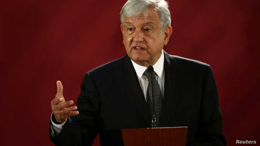 Mexico's new President Andres Manuel Lopez Obrador holds a news conference at National Palace in Mexico City, Mexico, Dec. 3, 2018.