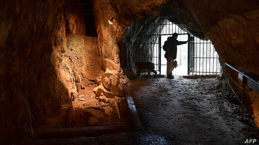 FILE - Cave specialist Christian Casseyas gives a tour of the Goyet cave, where 96 bones and three teeth from five Neanderthal individuals were found, in Goyet, Belgium, on Dec. 19, 2016.