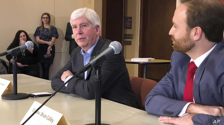 Michigan Gov. Rick Snyder, a Republican, speaks with reporters about his eight-year tenure and the Legislature's lame-duck session on Dec. 11, 2018, at his offices in Lansing, Mich.