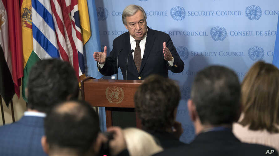 United Nations Secretary-General Antonio Guterres speaks to reporters during a news conference, Feb. 1, 2017, at U.N. headquarters in New York.
