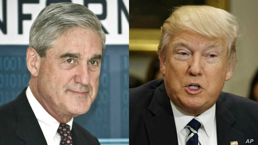 From left, former FBI Director Robert Mueller, named special prosecutor to the investigation of Russia's involvement in the 2016 U.S. presidential election, and President Donald Trump.