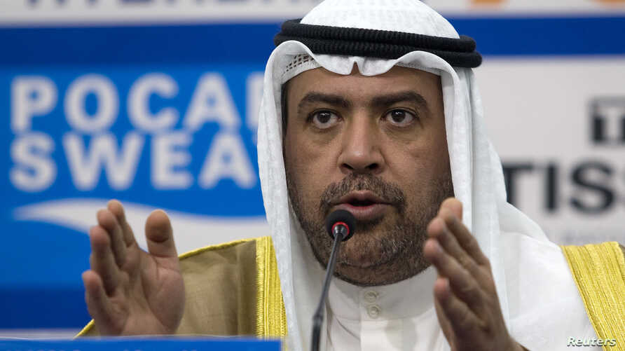 FILE - Olympic Council of Asia (OCA) President Sheikh Ahmad Al-Fahad Al-Sabah speaks at a news conference in Incheon, South Korea, Sept. 21, 2014.