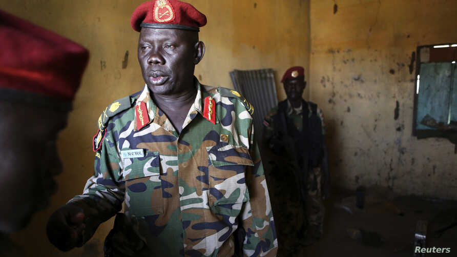 In May, the U.S. imposed sanctions two South Sudanese military commanders, including Major-General Marial Chanuong, above, Juba, Dec. 21, 2013.