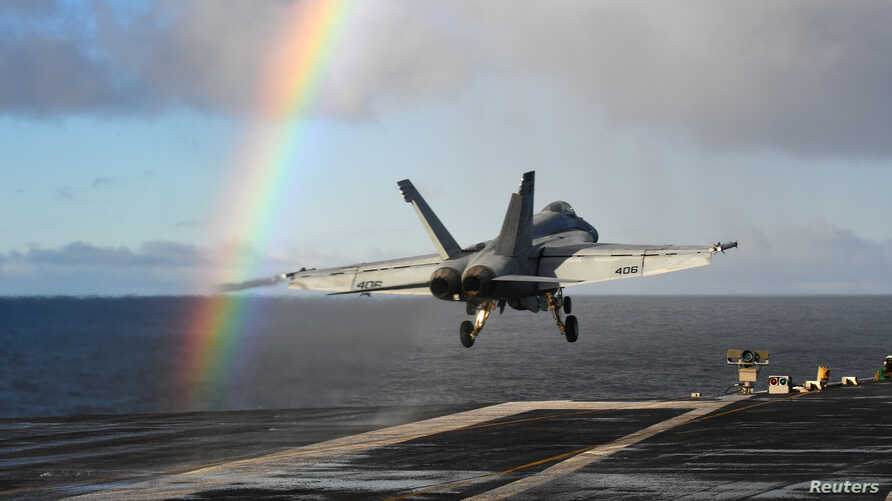 An F/A-18E Super Hornet launches from the U.S. Navy aircraft carrier USS Harry S. Truman in support of Exercise Trident Juncture 18 in the Norwegian Sea, Oct. 25, 2018.