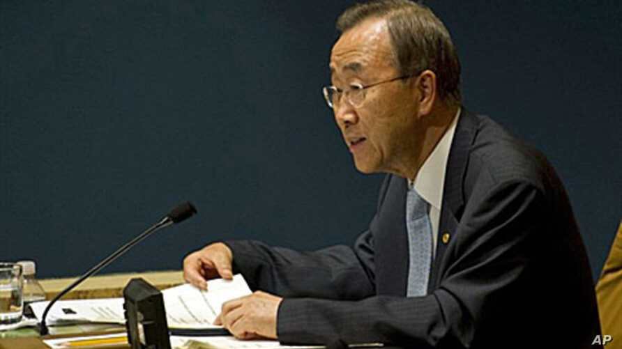 The United Nations Secretary General Ban Ki-moon addresses the United Nations General Assembly at the United Nations in New York, 19 Aug 2010 (file photo)