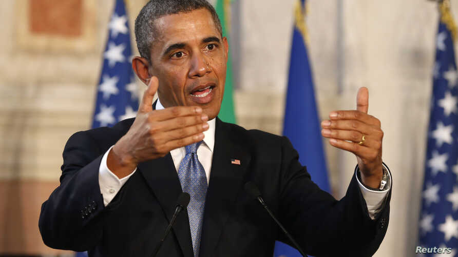 President Barack Obama speaks during a news conference with Italian Prime Minister Matteo Renzi following their meeting in Rome March 27, 2014.