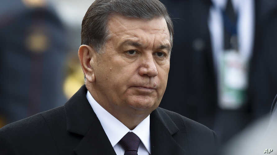 FILE - Uzbek President Shavkat Mirziyoyev is pictured in Moscow, April 5, 2017. The abolition of Uzbekistan's exit visa system is one of a number of changes being brought in since Mirziyoyev came to power last year.