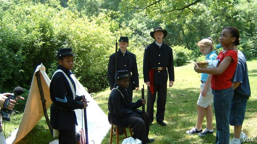 Lise Marlowe's students made a movie about the local Civil War history beneath their feet. (L. Marlowe, 2005)