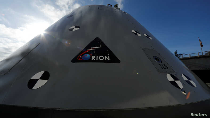 FILE - A test version of the Orion crew module is shown in San Diego, California, Jan. 25, 2018.