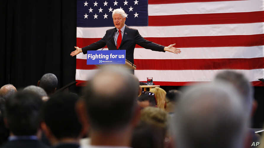 Former President Bill Clinton speaks while campaigning for his wife, Democratic presidential candidate Hillary Clinton, in Paterson, New Jersey, May 13, 2016.