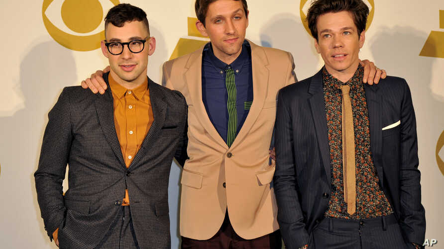 The band Fun, (L-R) Jack Antonoff, Andrew Dost and Nate Ruess pose for a photo backstage at the Grammy Nominations Concert Live! at Bridgestone Arena, Dec. 5, 2012, in Nashville, Tenn.