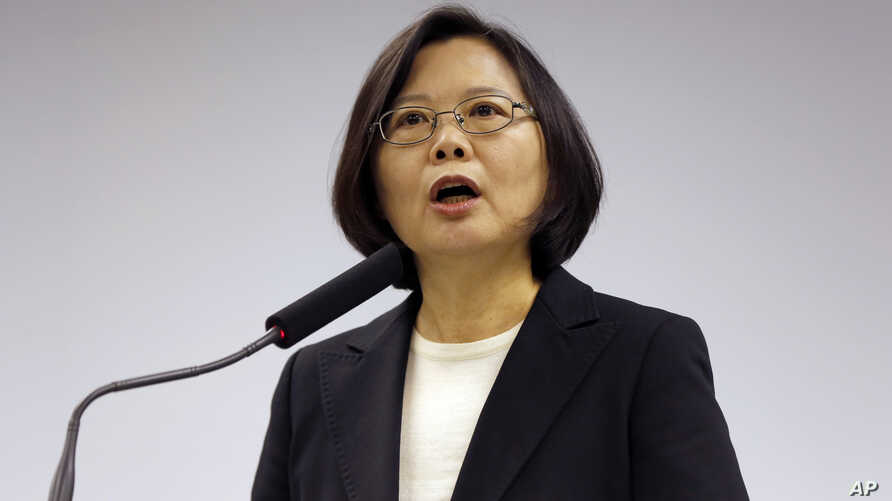 Taiwan's President-elect Tsai Ing-wen, announces that Lin Chuan is her choice for premier at their Democratic Progressive Party headquarters in Taipei, Taiwan, Tuesday, March 15, 2016.
