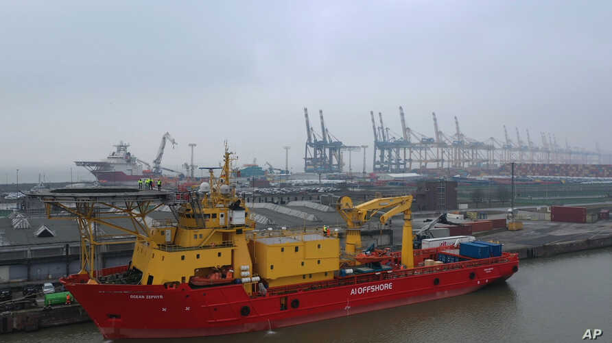 In this image taken from drone video, the Ocean Zephyr is docked in Bremerhaven, Germany, Wednesday Jan. 23, 2019.