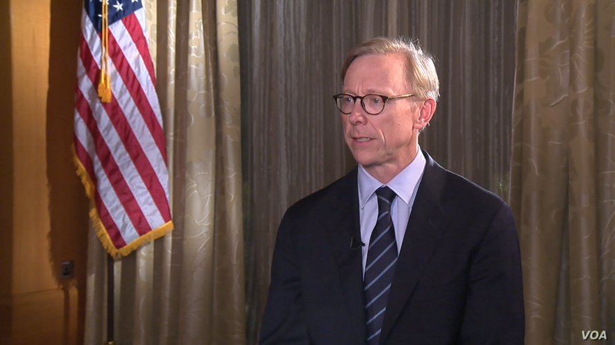 U.S. Special Representative for Iran Brian Hook speaks to Alhurra television, a sister network of VOA, in Dubai,  Nov. 19, 2018.